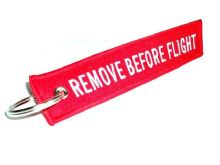 Embroidered Red 'REMOVE BEFORE FLIGHT' Double Sided Keyring / Keychain / Tag